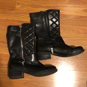 Marc Fisher black calf heeled boots